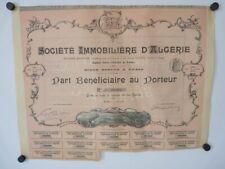 Part bénéficiaire Société immobilière d'Algérie action (25288)