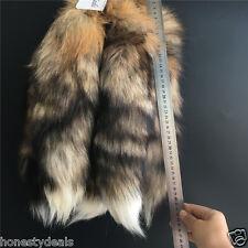 "16""18"" Red Tan Brown-Black-White Real Sun Fox Tail Fur Leather Keyring bag Charm"