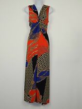 Women's Mixed Chain Print Front Knot Stretch Maxi Dress Plus Size 14W ELOQUII