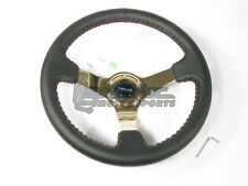 """NRG 350mm Sport Leather Steering Wheel 3"""" Deep Black w/ Red Stitch & Gold Center"""