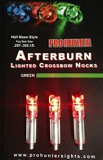 3 AFTERBURN CROSSBOW ARROW LIGHTED NOCKS  FITS BOLTS SIZE 297-302 (MADE IN USA)