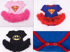 Super Hero Superman Supergirl Batgirl Fancy Dress Baby Girl Tutu Babygrow Romper