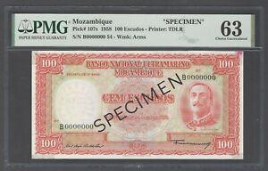 Mozambique 100 Escudos 1958 P107s Specimen Uncirculated Grade 63