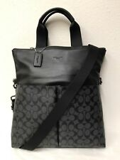 NWT Coach Charles Men's Signature Foldover Tote Bag F54774 BLACK MSRP $475