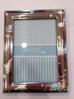 Bilderhalter Baby Himmelblau (17CM X 13CM) IN Holz E Silber 925,Neu mit Box