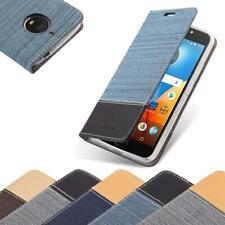 Coque Housse Protection Pour Motorola MOTO E4 PLUS Case Tissu de Jeans Etui