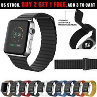 Magnetic Leather Band Loop Strap for Apple Watch Series 5 4 3 2 1 38/42/40/44mm