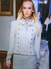CHANEL Pre Fall 2015 PARIS-SALZBURG NEW TWEED LACE Ecru Jacket GRIPOIX FR40 $16K