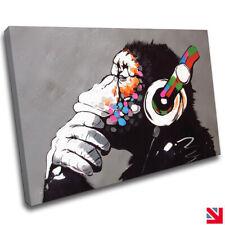 BANKSY MONKEY DJ CANVAS Wall Art Picture Print A4