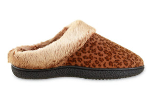Isotoner Women's Microsuede Chenille Faux Fur Indoor/Outdoor Hoodback Slipper XL