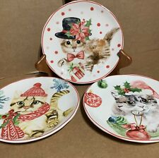 Sleigh Bell Bistro Christmas Cat Plates Set Of 3