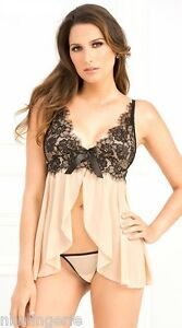 Rene Rofe Lingerie 2 Piece Bow Tie Chemise and G-String Set