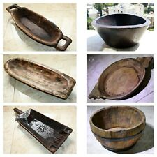 Old Primitive Antique Wooden Trencher Dough Bowl Hewn Carved Wood Rustic Chapati