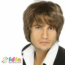 MENS BROWN SHORT STYLE MARK BOY BAND WIG mens fancy dress costume accessory