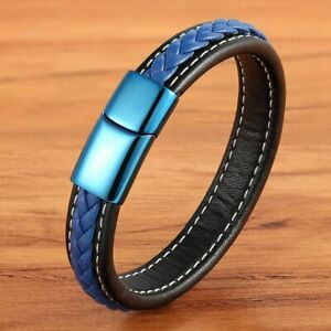 Leather Bracelet Stitching Stainless Steel Magnetic Clasp Hand-woven Charm Men