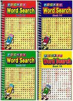 Set Di 4 Rilegato a Spirale 102 Pagina Nuovo Parola Ricerca Puzzle Books Viaggi