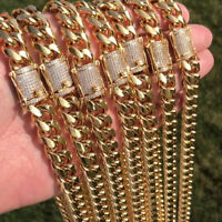 Miami Cuban Link Chain 1ct Diamond Clasp 14K Gold Plated Stainless Steel 10-14mm