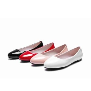 Womens PU Leather Flat Heel Shoes Pumps Round Toe Sandals Slip on Boat Big Shoes