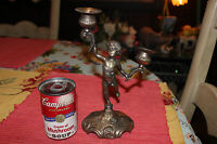 Vintage Silver Metal Angel Cherub Candle Holder Boy Holding 2 Candles Arms