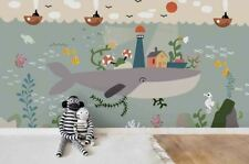 3D Cartoon City Whale Self-adhesive Removable Wallpaper Murals Wall Sticker FC