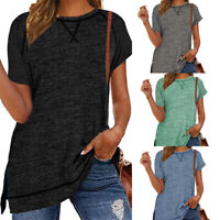Women Round Neck Short-Sleeve Solid T-Shirt Casual Loose Tunic Side Slits Tops