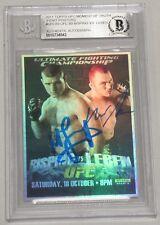 Michael Bisping Chris Leben Signed 2011 Topps UFC 89 Poster Card BAS Beckett COA