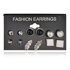 6Pair/Set Silver Rhinestone Crystal Pearl Feather Unisex Ear Stud Earrings Gift
