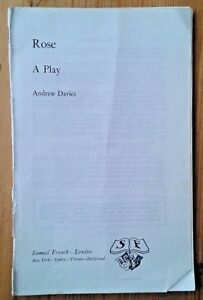 Rose A Play by Andrew Davies paperback book 1980 Samuel French ed. play text