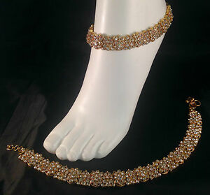 Gold anklet payal chanjar diamante foot chain jewel bollywood style SV23-503-gw