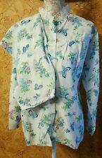 Philmaid Acetate Nylon Pajamas Lace Butterfly Flowers Print Vintage Size 40 2 Pc
