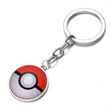 3D Red Pokeball Charms Keychain Key Ring Anime Pokemon Cartoon Round Pendant
