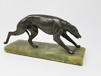 Vintage Art Deco Spelter Greyhound Sculpture on Onyx Base Broken Leg