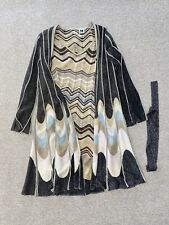 MISSONI Black Tan and Light Blue Cardigan & Dress Size 8 Medium