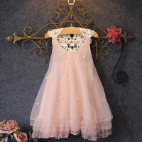 EG_ Baby Girls Imitation Pearl Decor Sleeveless Loose Lace Flower Back Dress Rap