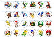 24 x SUPER MARIO PRE-CUT Round edible WAFER CARD Birthday Party cup cake toppers