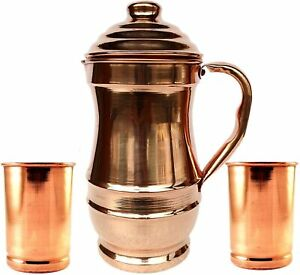 Traditional 100% Pure Copper Jug Pitcher + 2 Tumbler Glass Water Serving Set