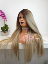 Chocolate Brown roots | Ash blonde | Long human hair mix | Lace front wig