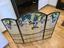 "Wisteria Style Stained Glass Fireplace Folding Screen Heavy!App 35.5"" x40"" open."