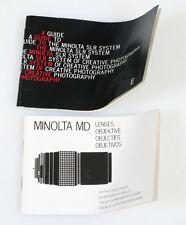 Minolta Md Lenses Slr Guide Literature / Manual / Guides, Set Of 2