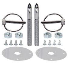 Universal Stainless Steel Mount Hood Pin Pins Plate Bonnet Lock Kit XY