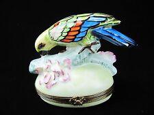 ROCHARD LIMOGES TRINKET BOX - EXOTIC BIRD - PARROT - MACAW