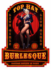 VINTAGE STYLE METAL SIGN Pinup Girl  Top Hat Burlesque  20 x 28