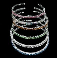 Wholesale Lots 6 Pcs 1 line mix color Rhinestone open Cuff Bracelet Bangle ac-4
