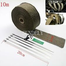 Titanium Exhaust Header Heat Pipe Wrap Tape Turbo 10m x 50mm + 5 Ties Motorcycle