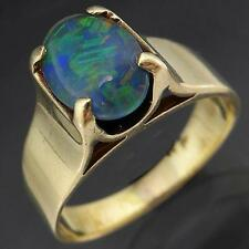 High Set Solid 9k YELLOW GOLD OVAL OPAL TRIPLET Right Hand Dress RING Small Sz K