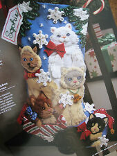 Bucilla Felt Applique Holiday Stocking Kit,CHRISTMAS KITTIES,Kitten,Cats,86060