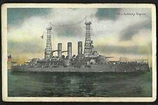 Naval Postcard, USS Battleship VIRGINIA; WW I Vintage 1917