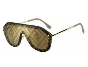 Fendi FABULOUS FF M0039/G/S XLT Havana Beige Gold Mirror Men Women Sunglasses