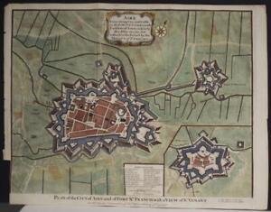 AIRE-SUR-LA-LYS FRANCE 1745 ISAAC BASIRE ANTIQUE COPPER ENGRAVED CITY MAP