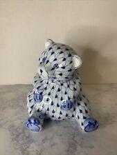 Andrea by Sadek Blue & White Herend Style Bear Fishnet Figurine.